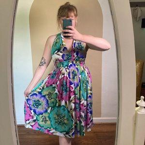 Calvin Klein Marilyn Halter Pink Green Dress